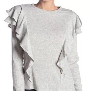 Laundry by Shelli Segal NEW Gray Ruffle Sweater